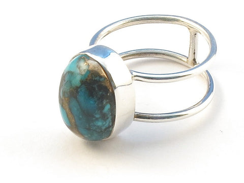 Design 113198 Artisan Jewelry Oval Blue Copper Turquoise .925 Sterling Silver Jewelry Ring Size 7