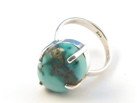 Design 113214 Lovely Oval Turquoise .925 Sterling Silver Jewelry Ring Size 7