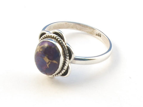 Design 113215 Glistening Oval Purple Copper Turquoise .925 Sterling Silver Jewelry Ring Size 7
