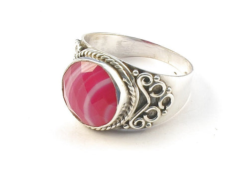 Design 113220 Jewelry Shop Round Pink Banded Agate .925 Sterling Silver Jewelry Ring Size 7