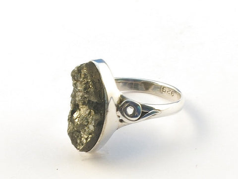 Design 113238 Wholesale Marquise Pyrite Gold .925 Sterling Silver Jewelry Ring Size 8