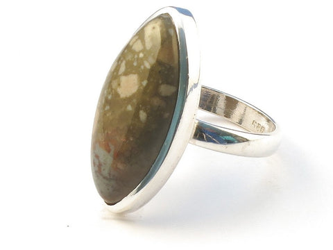 Design 113243 Unique Marquise Ocean Jasper .925 Sterling Silver Jewelry Ring Size 8