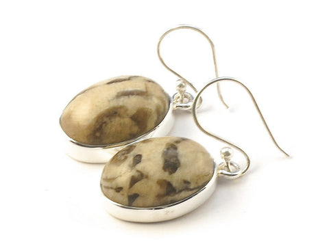 Design 113369 Jewelry Shop Oval Jasper .925 Sterling Silver Jewelry Earrings 1 1/2""