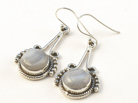 Design 113401 Exotic Round Blue Lace Agate .925 Sterling Silver Jewelry Earrings 2""