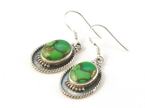 Design 113409 Handcrafted Oval Green Copper Turquoise .925 Sterling Silver Jewelry Earrings 1 1/4""