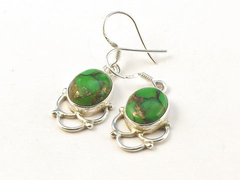 Design 113446 Jewelry Closeout Oval Green Copper Turquoise .925 Sterling Silver Jewelry Earrings 1 1/2""