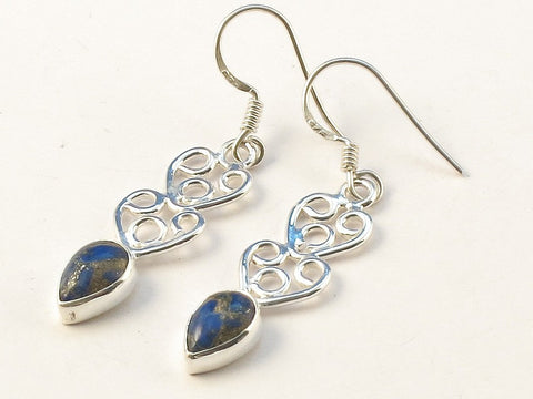 Design 113448 Glistening Pear Blue Copper Turquoise .925 Sterling Silver Jewelry Earrings 1 3/4""