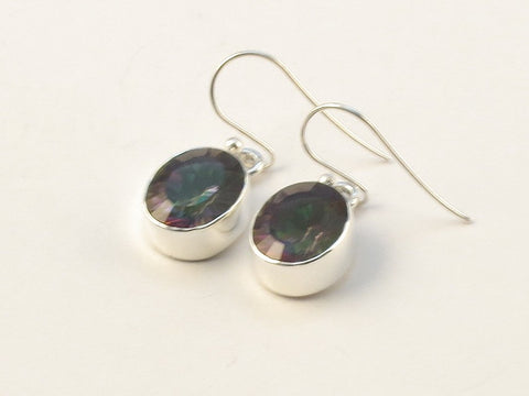 Design 113452 Artisan Jewelry Oval Mysterious Topaz .925 Sterling Silver Jewelry Earrings 1 1/4""