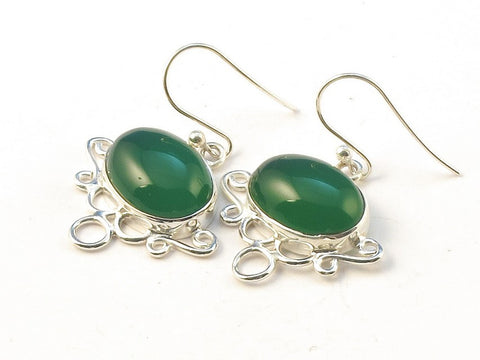 Design 113463 Premium Oval Green Onyx .925 Sterling Silver Jewelry Earrings 1 1/4""