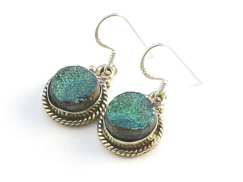 Design 113712 Original Round Druzy .925 Sterling Silver Jewelry Earrings 1 1/2""
