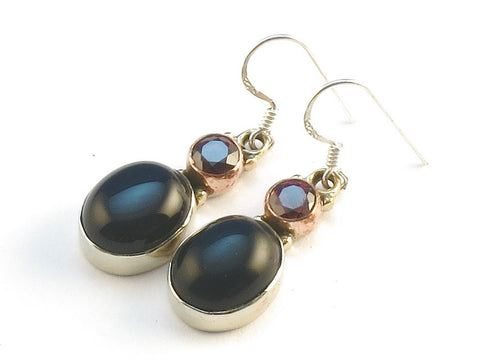 Design 113732 Jewelry Closeout Round, Oval Garnet Black Onyx .925 Sterling Silver Jewelry Earrings 1 3/8""
