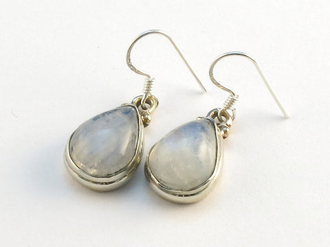 Design 113756 Shimmering Pear Rainbow Moonstone .925 Sterling Silver Jewelry Earrings 1 1/4""