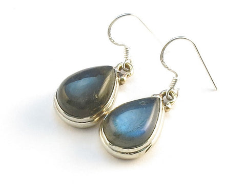 Design 113763 Shimmering Pear Labradorite .925 Sterling Silver Jewelry Earrings 1 1/4""