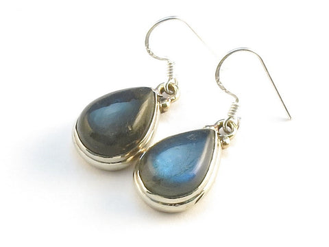 Design 113767 Jewelry Shop Pear Labradorite .925 Sterling Silver Jewelry Earrings 1 1/4""