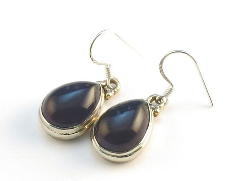 Design 113773 Jewelry Shop Pear Purple Amethyst .925 Sterling Silver Jewelry Earrings 1 1/4""