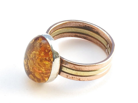 Design 113817 Premium Oval Amber .925 Sterling Silver Jewelry Ring Size 9