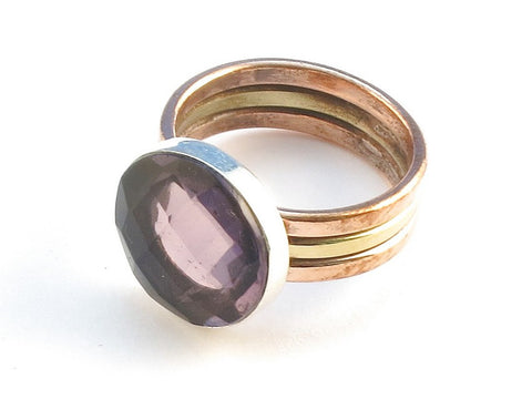 Design 113828 Premier Designs Round Purple Amethyst .925 Sterling Silver Jewelry Ring Size 9