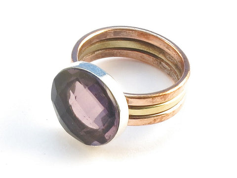 Design 113829 Fair Trade Round Purple Amethyst .925 Sterling Silver Jewelry Ring Size 9