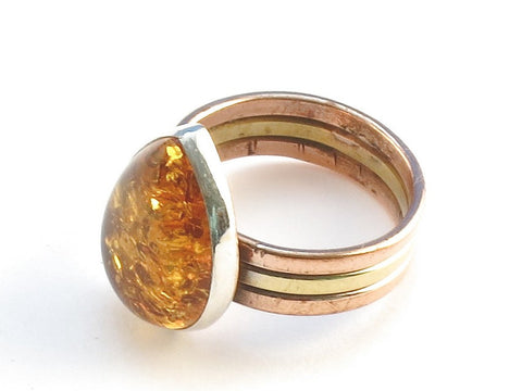 Design 113834 Lovely Pear Amber .925 Sterling Silver Jewelry Ring Size 9
