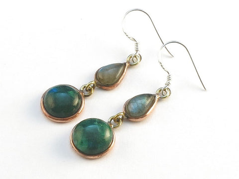 Design 113888 Shimmering Teardrop, Round Labradorite Green Rainbow Moonstone .925 Sterling Silver Jewelry Earrings 1 1/2""