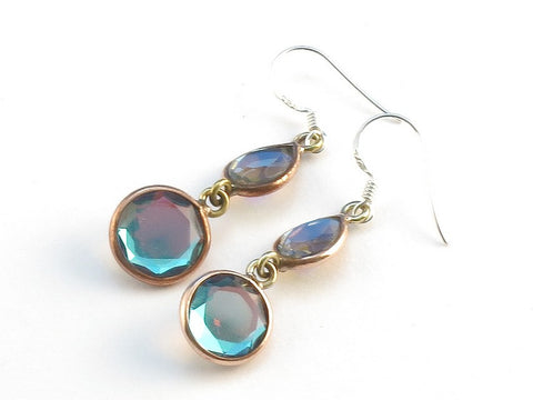 Design 113964 Artistic Teardrop, Round Blue Rainbow Mysterious .925 Sterling Silver Jewelry Earrings 1 1/2""