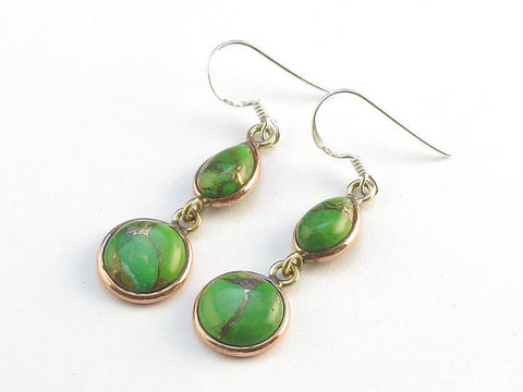 Design 114027 Premier Designs Teardrop, Round Green Copper Turquoise .925 Sterling Silver Jewelry Earrings 1 1/2""