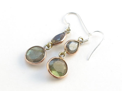 Design 114042 Made By Hand Teardrop, Round Labradorite .925 Sterling Silver Jewelry Earrings 1 1/2""