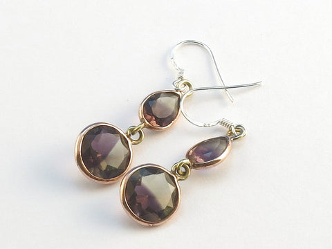 Design 114049 Shimmering Teardrop, Round Ametrine .925 Sterling Silver Jewelry Earrings 1 1/2""