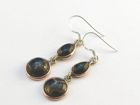 Design 114057 Jewelry Shop Teardrop, Round Black Copper Turquoise .925 Sterling Silver Jewelry Earrings 1 1/2""