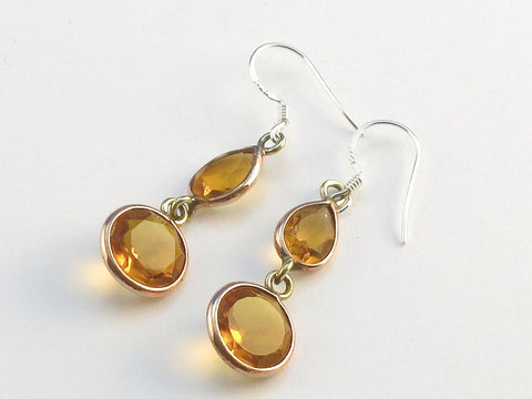 Design 114062 Fancy Teardrop, Round Citrine .925 Sterling Silver Jewelry Earrings 1 1/2""