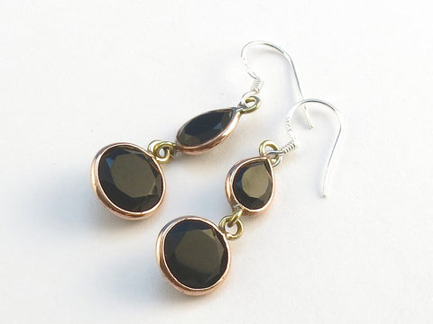 Design 114072 Jewelry Closeout Teardrop, Round Black Onyx .925 Sterling Silver Jewelry Earrings 1 1/2""