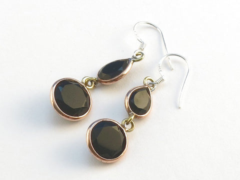 Design 114074 Glistening Teardrop, Round Black Onyx .925 Sterling Silver Jewelry Earrings 1 1/2""