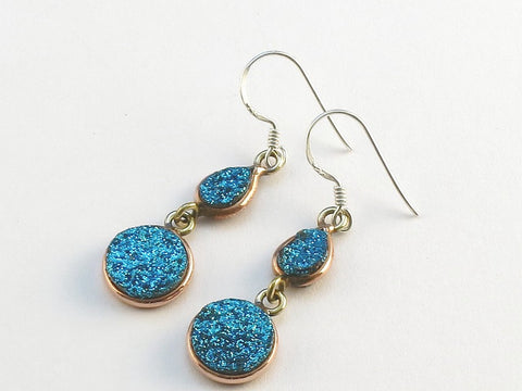 Design 114088 Artisan Jewelry Teardrop, Round Blue Druzy .925 Sterling Silver Jewelry Earrings 1 1/2""