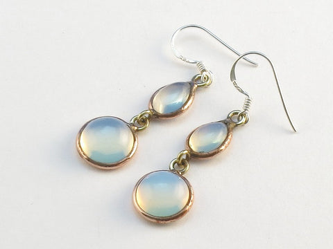 Design 114102 Wholesale Teardrop, Round Opalite .925 Sterling Silver Jewelry Earrings 1 1/2""