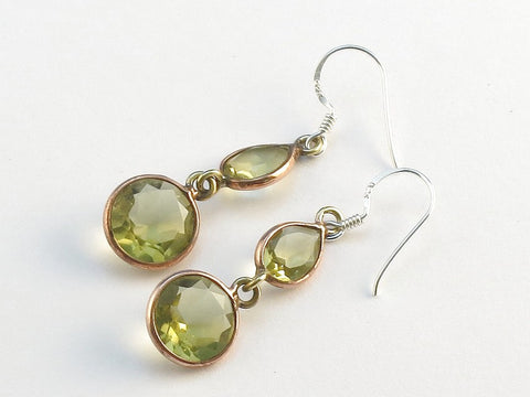 Design 114130 Lovely Teardrop, Round Golden Citrine .925 Sterling Silver Jewelry Earrings 1 1/2""