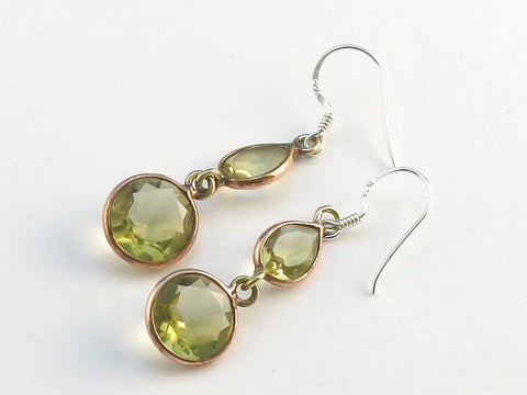 Design 114131 Glistening Teardrop, Round Golden Citrine .925 Sterling Silver Jewelry Earrings 1 1/2""