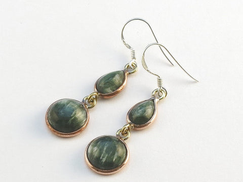 Design 114139 Handcrafted Teardrop, Round Seraphinite .925 Sterling Silver Jewelry Earrings 1 1/2""
