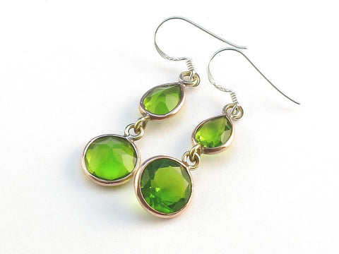 Design 114142 Fancy Teardrop, Round Peridot .925 Sterling Silver Jewelry Earrings 1 1/2""