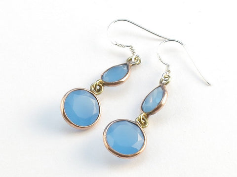 Design 114163 One-Of-A-Kind Teardrop, Round Blue Chalcedony .925 Sterling Silver Jewelry Earrings 1 1/2""