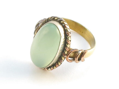 Design 114201 Made By Hand Oval Prehnite .925 Sterling Silver Jewelry Ring Size 5
