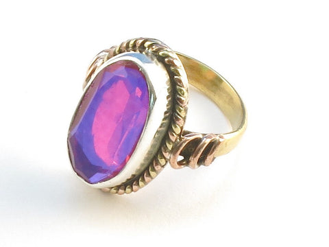 Design 114212 Jewelry Closeout Oval Pink Rainbow Mysterious .925 Sterling Silver Jewelry Ring Size 8