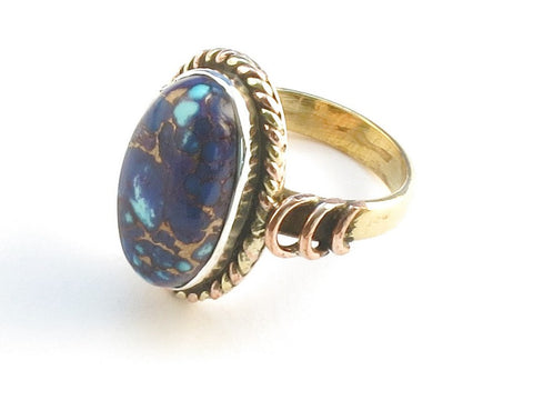 Design 114223 Handcrafted Oval Purple Copper Turquoise .925 Sterling Silver Jewelry Ring Size 5