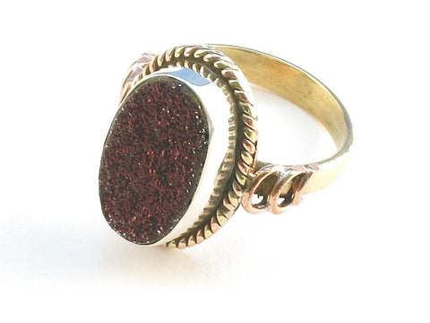 Design 114228 Jewelry Store Oval Rasberry Drusy .925 Sterling Silver Jewelry Ring Size 9.5