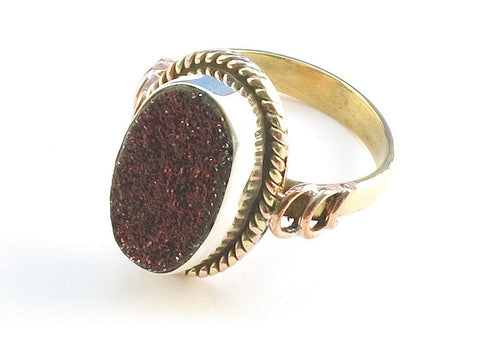 Design 114230 Lovely Oval Rasberry Drusy .925 Sterling Silver Jewelry Ring Size 9.5