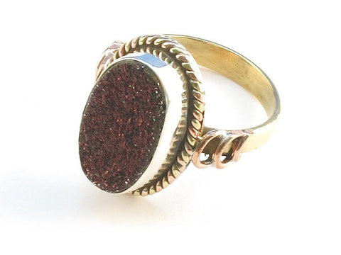 Design 114231 Glistening Oval Rasberry Drusy .925 Sterling Silver Jewelry Ring Size 9.5