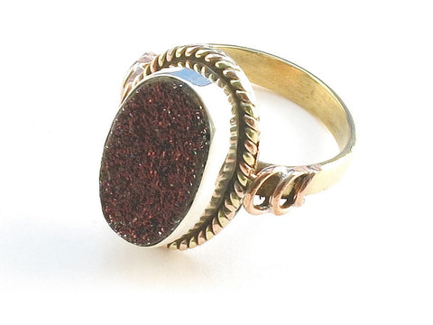 Design 114232 Shimmering Oval Rasberry Drusy .925 Sterling Silver Jewelry Ring Size 9.5