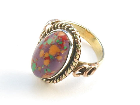 Design 114239 Jewelry Store Oval Purple Splash Turquoise .925 Sterling Silver Jewelry Ring Size 6