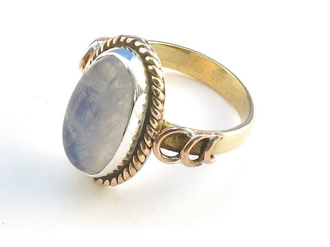 Design 114250 Fair Trade Oval Rainbow Moonstone .925 Sterling Silver Jewelry Ring Size 8