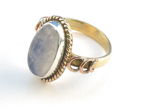 Design 114252 Exotic Oval Rainbow Moonstone .925 Sterling Silver Jewelry Ring Size 8.5
