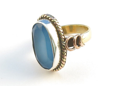Design 114264 Jewelry Closeout Oval Blue Chalcedony .925 Sterling Silver Jewelry Ring Size 7